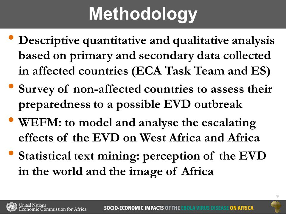 Descriptive quantitative and qualitative analysis based on primary and secondary data collected in affected countries (ECA Task Team and ES) Survey of non-affected countries to assess their preparedness to a possible EVD outbreak WEFM: to model and analyse the escalating effects of the EVD on West Africa and Africa Statistical text mining: perception of the EVD in the world and the image of Africa Methodology 9