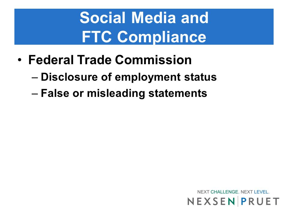 Social Media and Discrimination/Harassment Title VII, ADEA, ADA –Discriminatory comments –Harassing messages or pictures