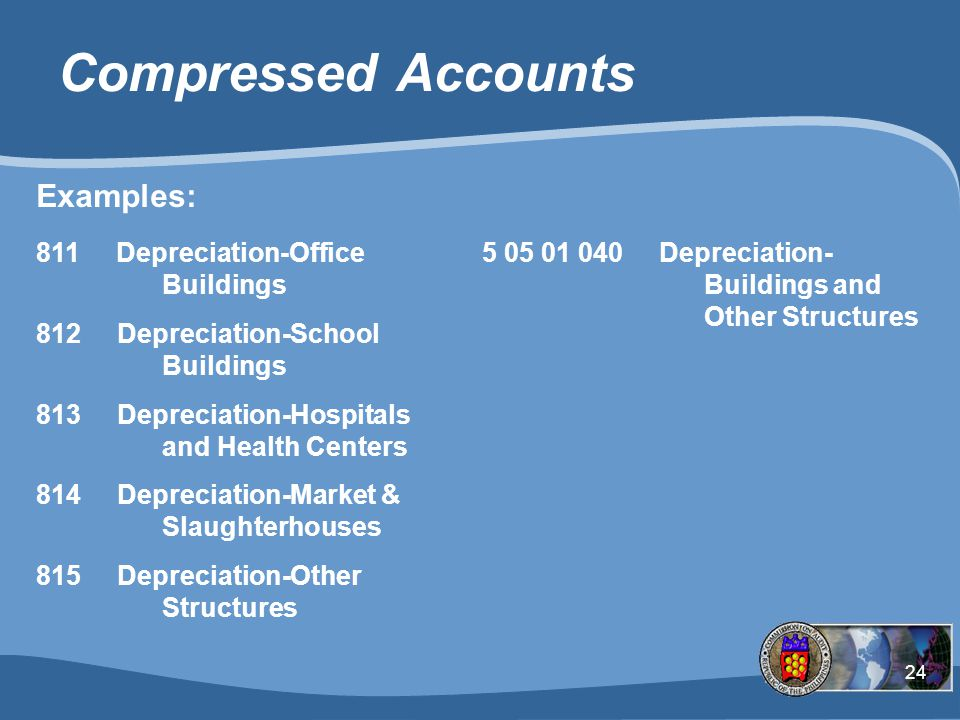 24 Compressed Accounts 811 Depreciation-Office 5 05 01 040 Depreciation - Buildings Buildings and 812 Depreciation-School Other Structures Buildings 813 Depreciation-Hospitals and Health Centers 814 Depreciation-Market and Slaughterhouses 815 Depreciation-Other Structures Examples: 811 Depreciation-Office Buildings 812 Depreciation-School Buildings 813 Depreciation-Hospitals and Health Centers 814 Depreciation-Market & Slaughterhouses 815 Depreciation-Other Structures 5 05 01 040 Depreciation- Buildings and Other Structures