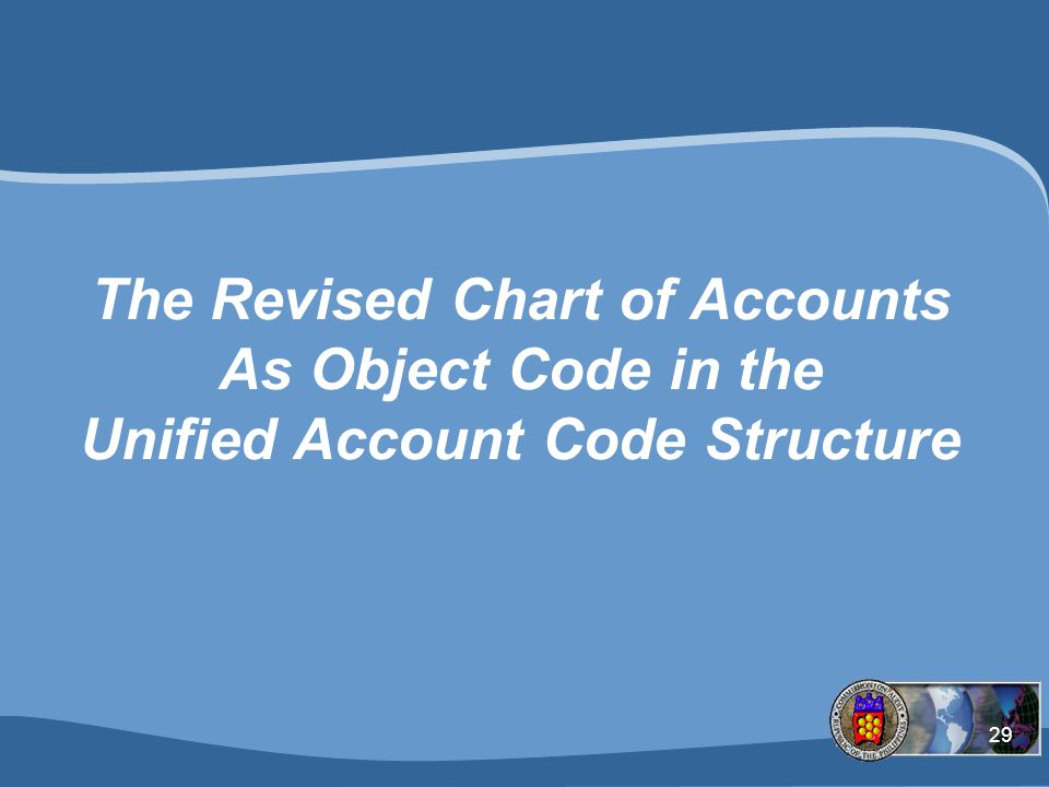 29 The Revised Chart of Accounts As Object Code in the Unified Account Code Structure