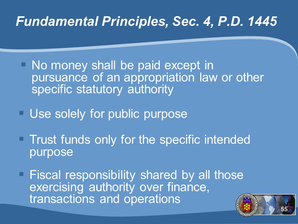 55 Fundamental Principles, Sec.4, P.D.
