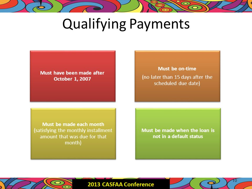 Qualifying Payments 10 Must have been made after October 1, 2007 Must be on-time (no later than 15 days after the scheduled due date) Must be made eac