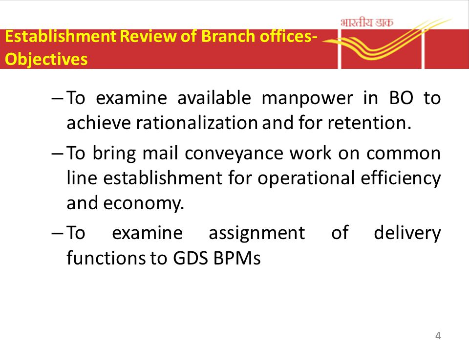 Establishment Review of Branch offices- Objectives – To examine available manpower in BO to achieve rationalization and for retention. – To bring mail