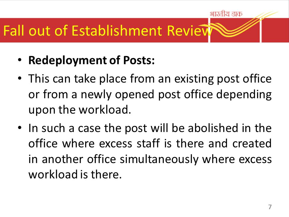 Fall out of Establishment Review Redeployment of Posts: This can take place from an existing post office or from a newly opened post office depending