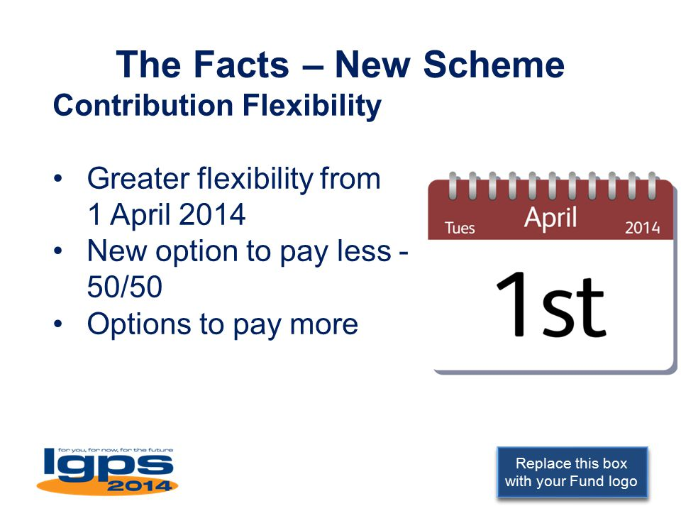 Replace this box with your Fund logo The Facts – New Scheme Contribution Flexibility Greater flexibility from 1 April 2014 New option to pay less - 50/50 Options to pay more