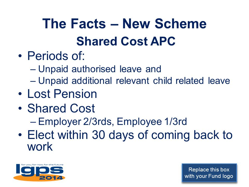 Replace this box with your Fund logo The Facts – New Scheme Shared Cost APC Periods of: –Unpaid authorised leave and –Unpaid additional relevant child related leave Lost Pension Shared Cost –Employer 2/3rds, Employee 1/3rd Elect within 30 days of coming back to work