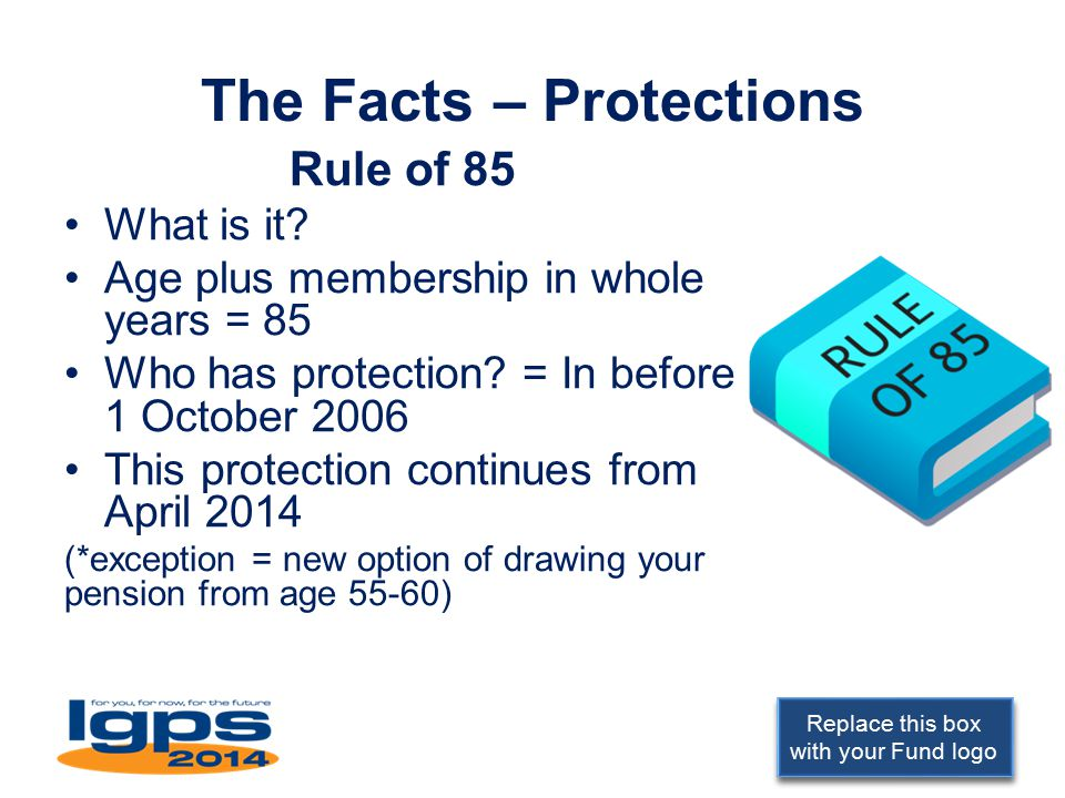Replace this box with your Fund logo The Facts – Protections Rule of 85 What is it? Age plus membership in whole years = 85 Who has protection? = In b
