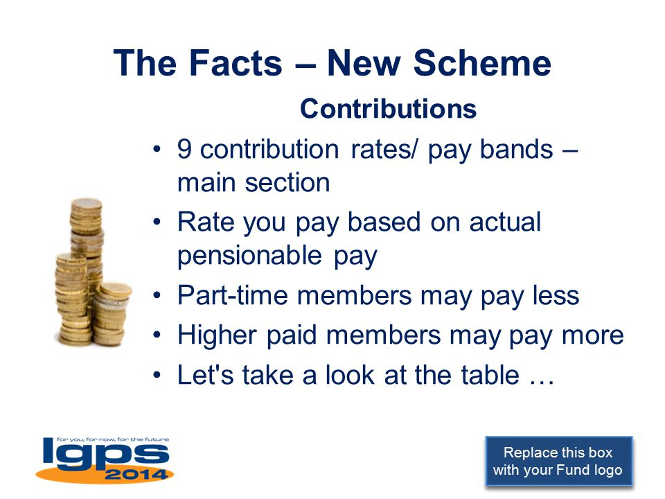 Replace this box with your Fund logo The Facts – New Scheme Contributions 9 contribution rates/ pay bands – main section Rate you pay based on actual pensionable pay Part-time members may pay less Higher paid members may pay more Let s take a look at the table …