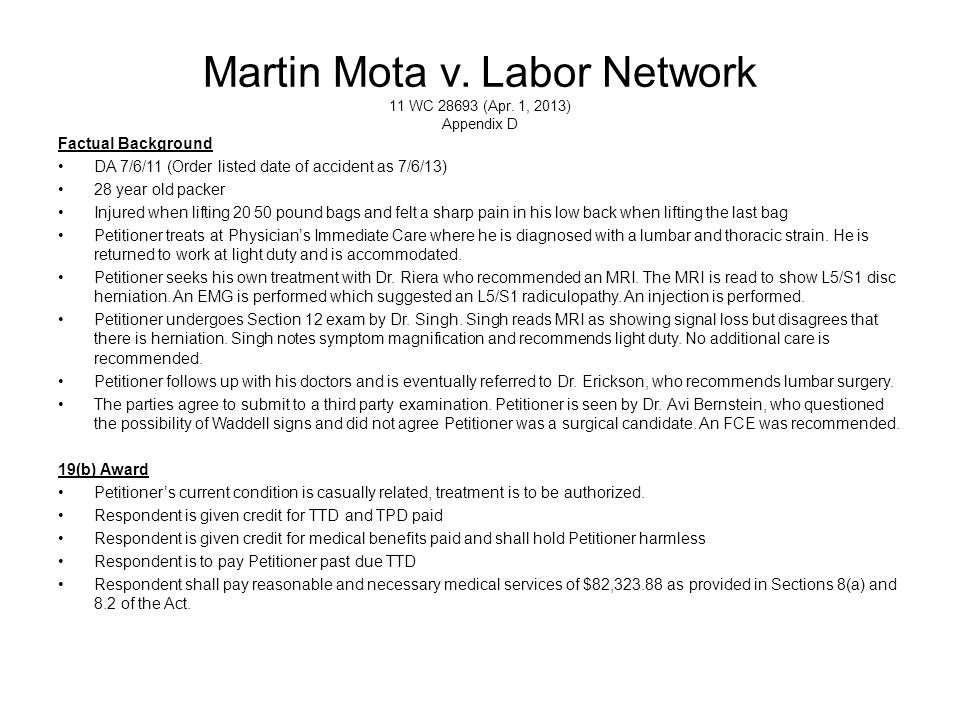 Martin Mota v.Labor Network 11 WC 28693 (Apr.
