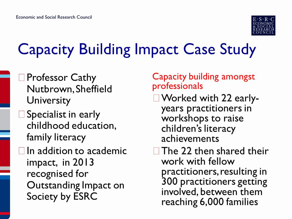 ▶ Professor Cathy Nutbrown, Sheffield University ▶ Specialist in early childhood education, family literacy ▶ In addition to academic impact, in 2013 recognised for Outstanding Impact on Society by ESRC Capacity building amongst professionals ▶ Worked with 22 early- years practitioners in workshops to raise children's literacy achievements ▶ The 22 then shared their work with fellow practitioners, resulting in 300 practitioners getting involved, between them reaching 6,000 families Capacity Building Impact Case Study