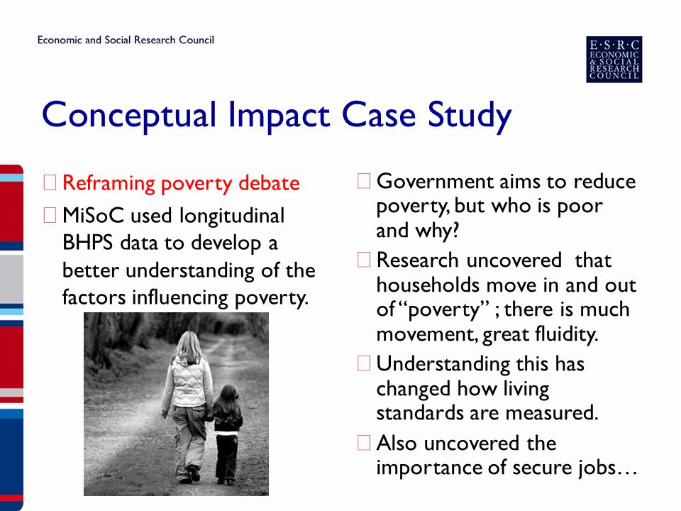 ▶ Reframing poverty debate ▶ MiSoC used longitudinal BHPS data to develop a better understanding of the factors influencing poverty.