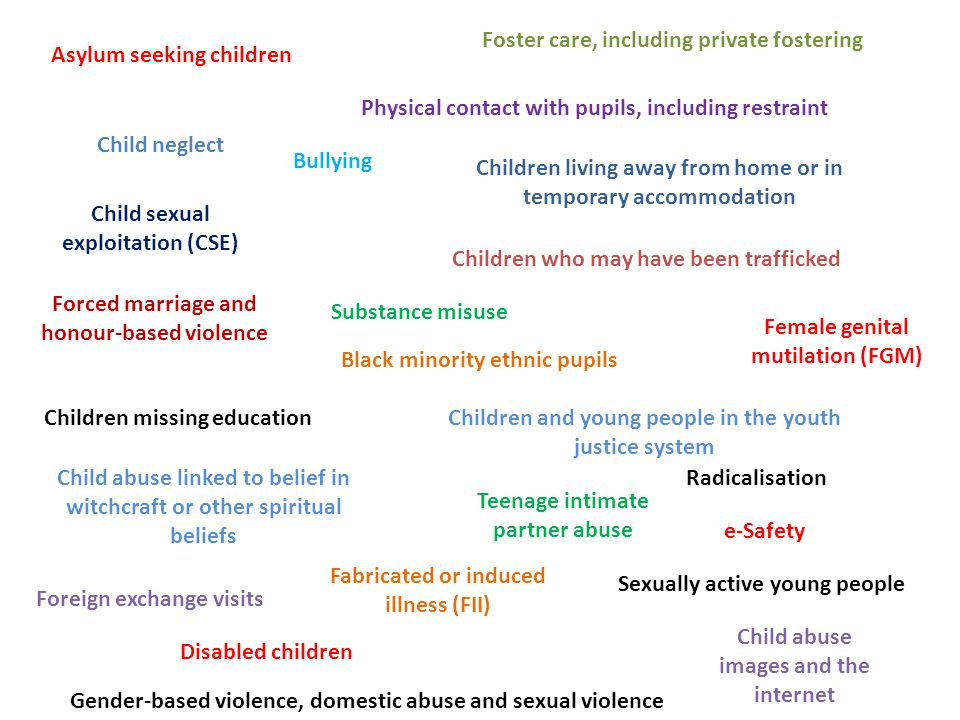 Asylum seeking children Black minority ethnic pupils Bullying Child abuse images and the internet Child abuse linked to belief in witchcraft or other spiritual beliefs Child neglect Children and young people in the youth justice system Children living away from home or in temporary accommodation Child sexual exploitation (CSE) Children who may have been trafficked Children missing education Disabled children e-Safety Fabricated or induced illness (FII) Female genital mutilation (FGM) Forced marriage and honour-based violence Foster care, including private fostering Foreign exchange visits Gender-based violence, domestic abuse and sexual violence Physical contact with pupils, including restraint Radicalisation Sexually active young people Substance misuse Teenage intimate partner abuse