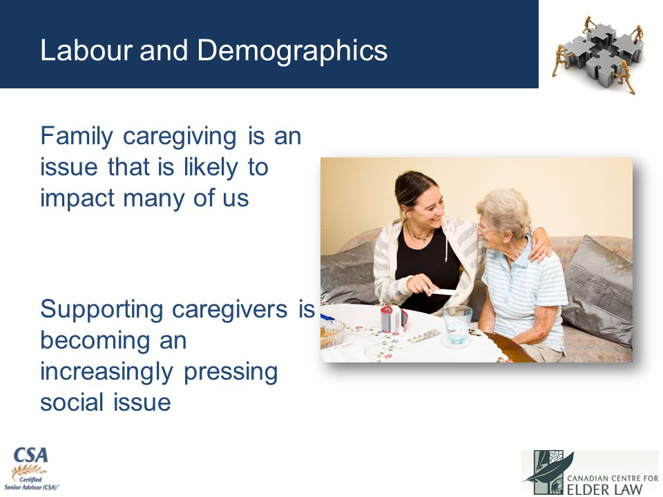 Labour and Demographics Family caregiving is an issue that is likely to impact many of us Supporting caregivers is becoming an increasingly pressing social issue