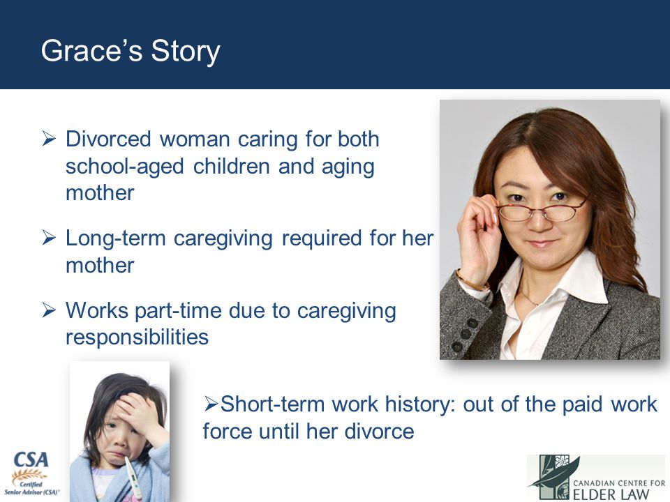Grace's Story  Divorced woman caring for both school-aged children and aging mother  Long-term caregiving required for her mother  Works part-time due to caregiving responsibilities  Short-term work history: out of the paid work force until her divorce