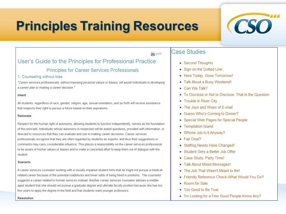 Principles Training Resources