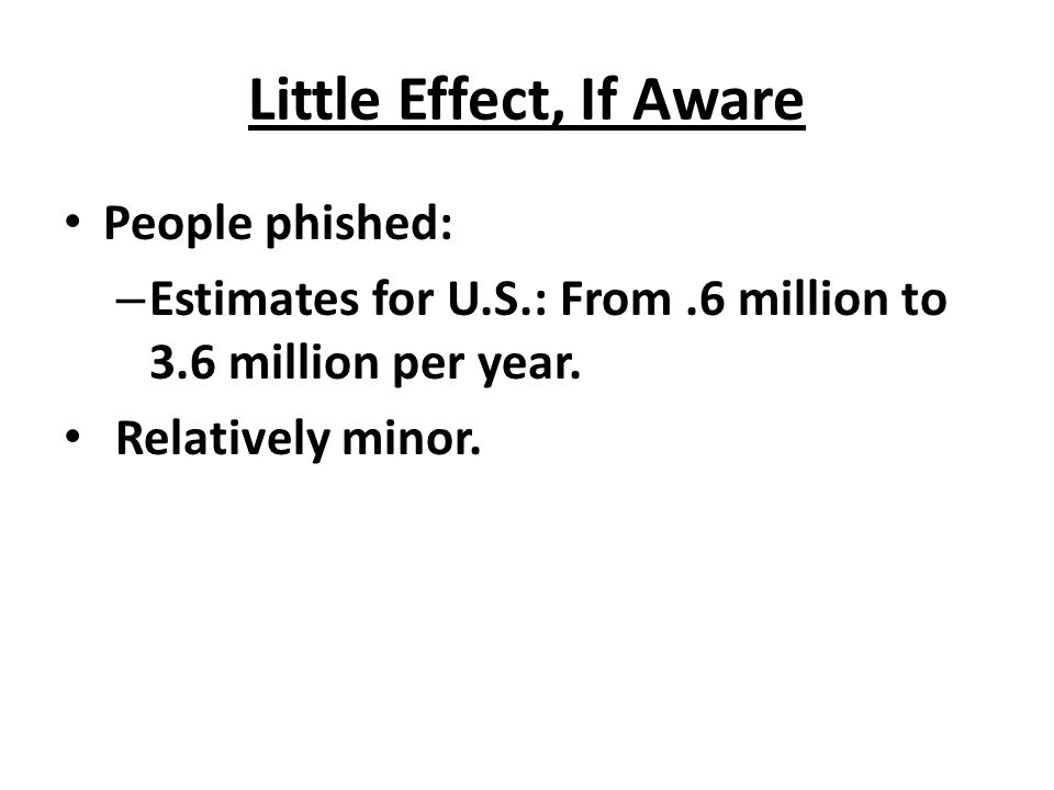 Little Effect, If Aware People phished: – Estimates for U.S.: From.6 million to 3.6 million per year. Relatively minor.