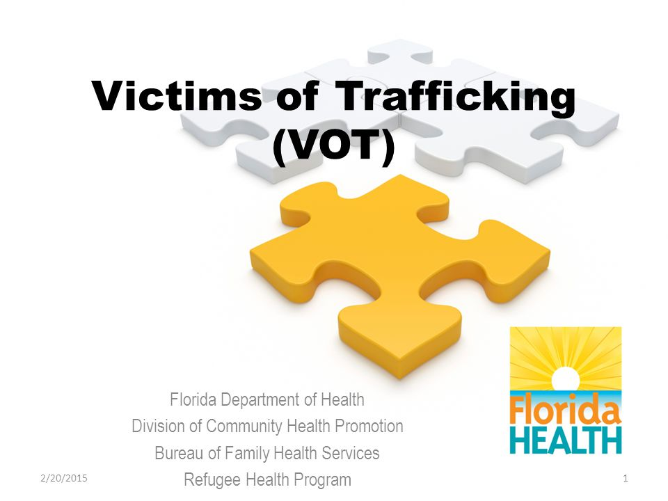 Victims of Trafficking (VOT) Florida Department of Health Division of Community Health Promotion Bureau of Family Health Services Refugee Health Program 12/20/2015