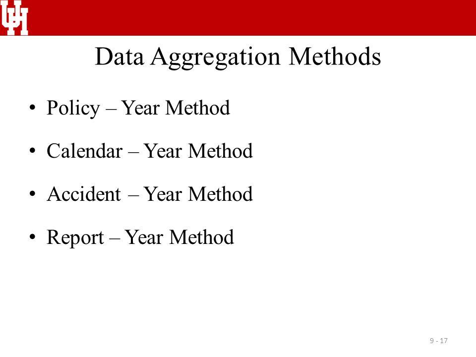 Data Aggregation Methods Policy – Year Method Calendar – Year Method Accident – Year Method Report – Year Method 9 - 17