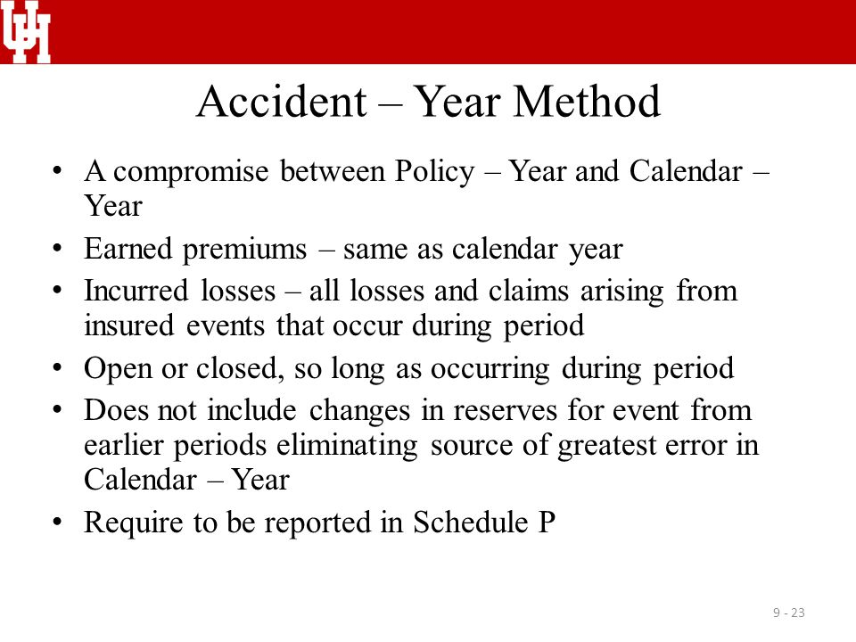 Accident – Year Method A compromise between Policy – Year and Calendar – Year Earned premiums – same as calendar year Incurred losses – all losses and