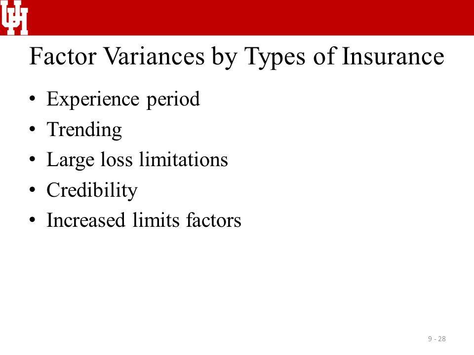 Factor Variances by Types of Insurance Experience period Trending Large loss limitations Credibility Increased limits factors 9 - 28