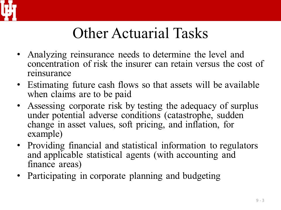 Actuarial Services Staff Consultants Actuarial operations Use of rating organizations Advisory organizations 9 - 4