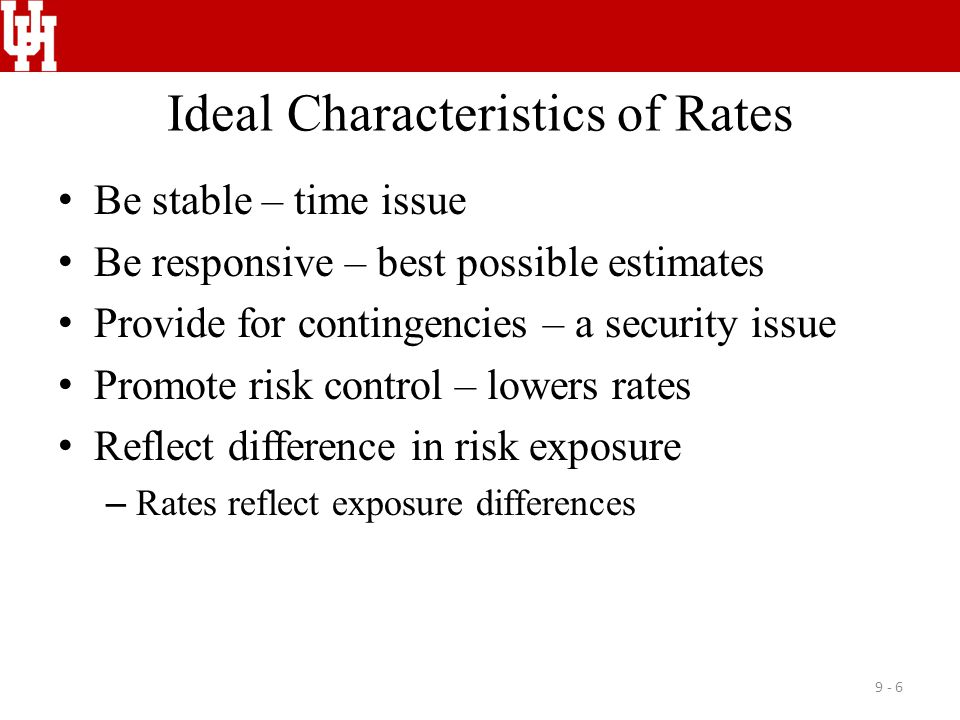 Ideal Characteristics of Rates Be stable – time issue Be responsive – best possible estimates Provide for contingencies – a security issue Promote ris