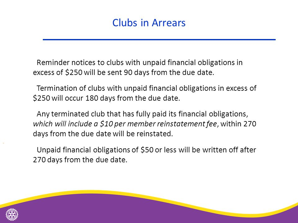Reminder notices to clubs with unpaid financial obligations in excess of $250 will be sent 90 days from the due date. Termination of clubs with unpaid