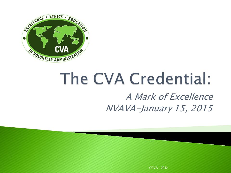 A Mark of Excellence NVAVA-January 15, 2015 CCVA - 2012
