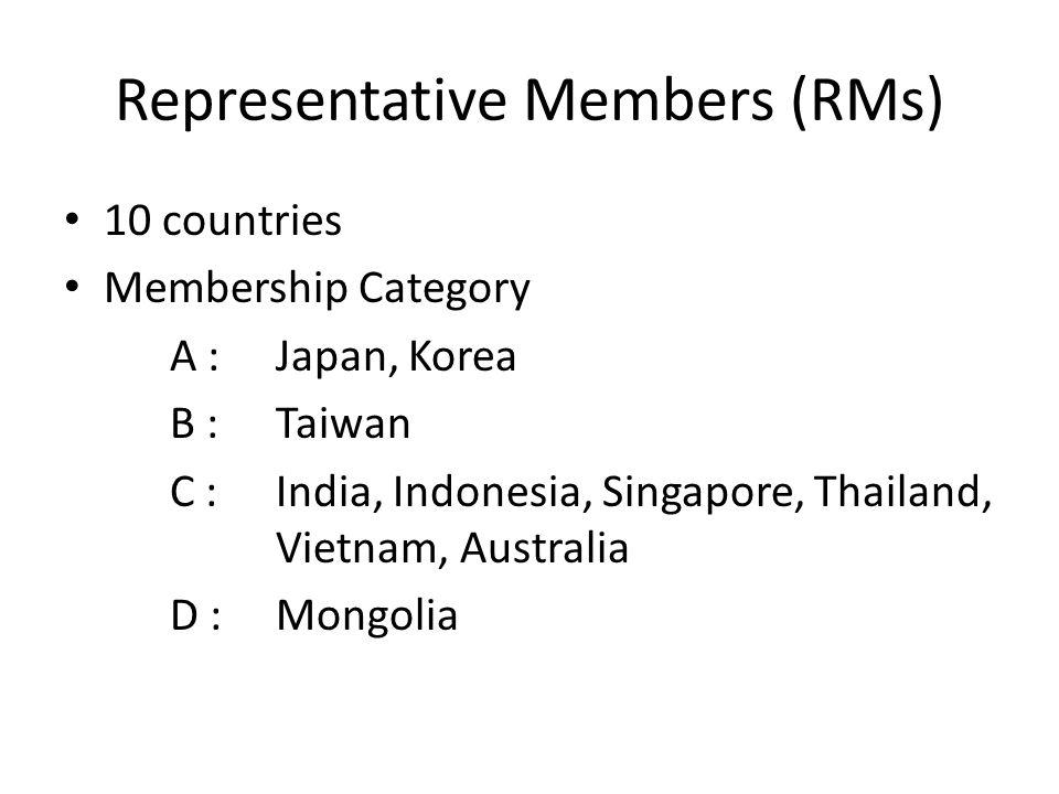 Representative Members (RMs) 10 countries Membership Category A :Japan, Korea B :Taiwan C : India, Indonesia, Singapore, Thailand, Vietnam, Australia D :Mongolia