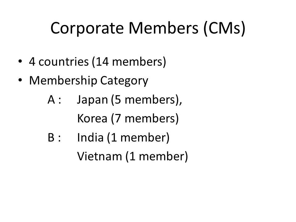 Corporate Members (CMs) 4 countries (14 members) Membership Category A :Japan (5 members), Korea (7 members) B :India (1 member) Vietnam (1 member)