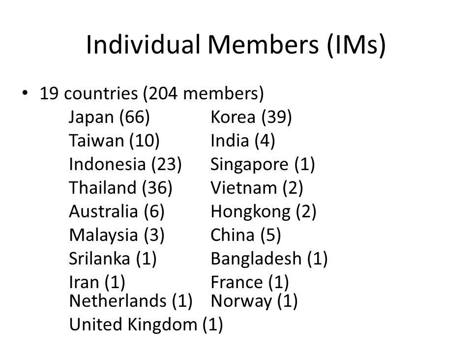 Individual Members (IMs) 19 countries (204 members) Japan (66)Korea (39) Taiwan (10)India (4) Indonesia (23)Singapore (1) Thailand (36)Vietnam (2) Australia (6)Hongkong (2) Malaysia (3)China (5) Srilanka (1) Bangladesh (1) Iran (1) France (1) Netherlands (1)Norway (1) United Kingdom (1)