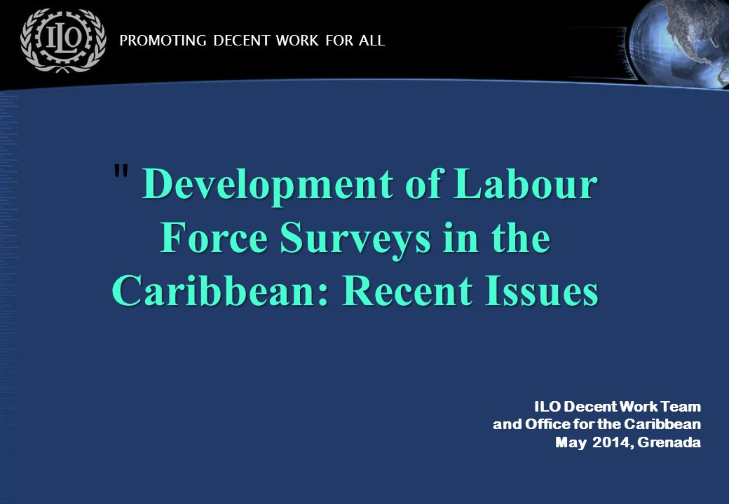 PROMOTING DECENT WORK FOR ALL ILO Decent Work Team and Office for the Caribbean May 2014, Grenada Development of Labour Force Surveys in the Caribbean: Recent Issues Development of Labour Force Surveys in the Caribbean: Recent Issues