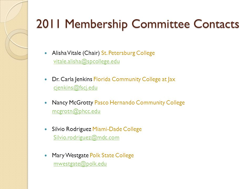 2011 Membership Committee Contacts Alisha Vitale (Chair) St.