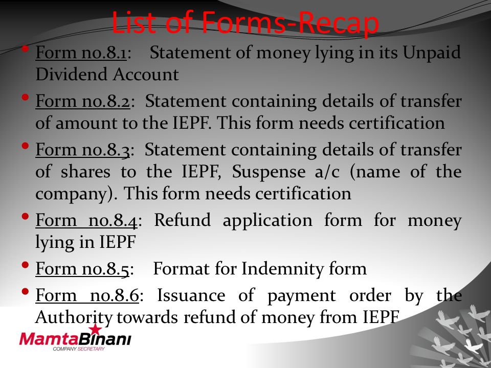 List of Forms-Recap Form no.8.1: Statement of money lying in its Unpaid Dividend Account Form no.8.2: Statement containing details of transfer of amount to the IEPF.