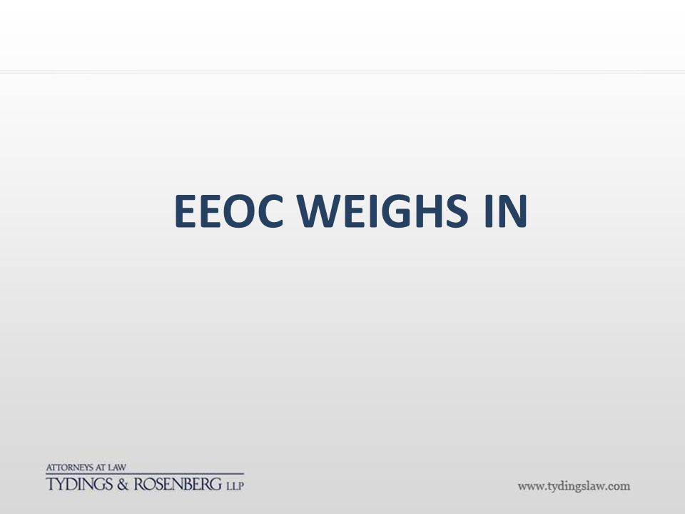 EEOC WEIGHS IN