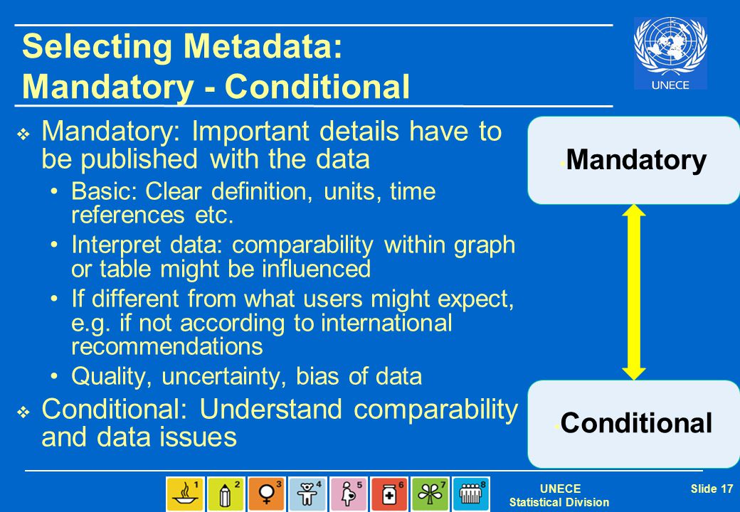 UNECE Statistical Division Slide 17 Selecting Metadata: Mandatory - Conditional  Mandatory: Important details have to be published with the data Basic: Clear definition, units, time references etc.