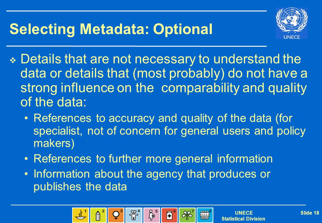 UNECE Statistical Division Slide 18 Selecting Metadata: Optional  Details that are not necessary to understand the data or details that (most probabl