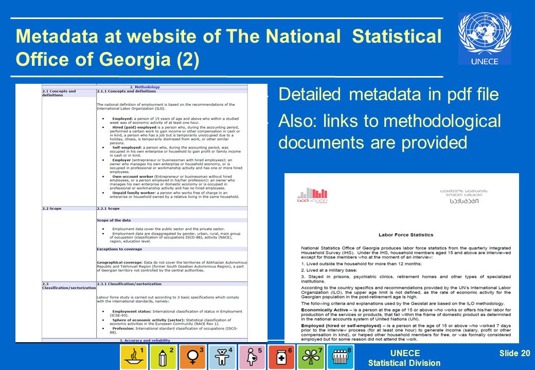 UNECE Statistical Division Slide 20 Metadata at website of The National Statistical Office of Georgia (2)  Detailed metadata in pdf file  Also: links to methodological documents are provided