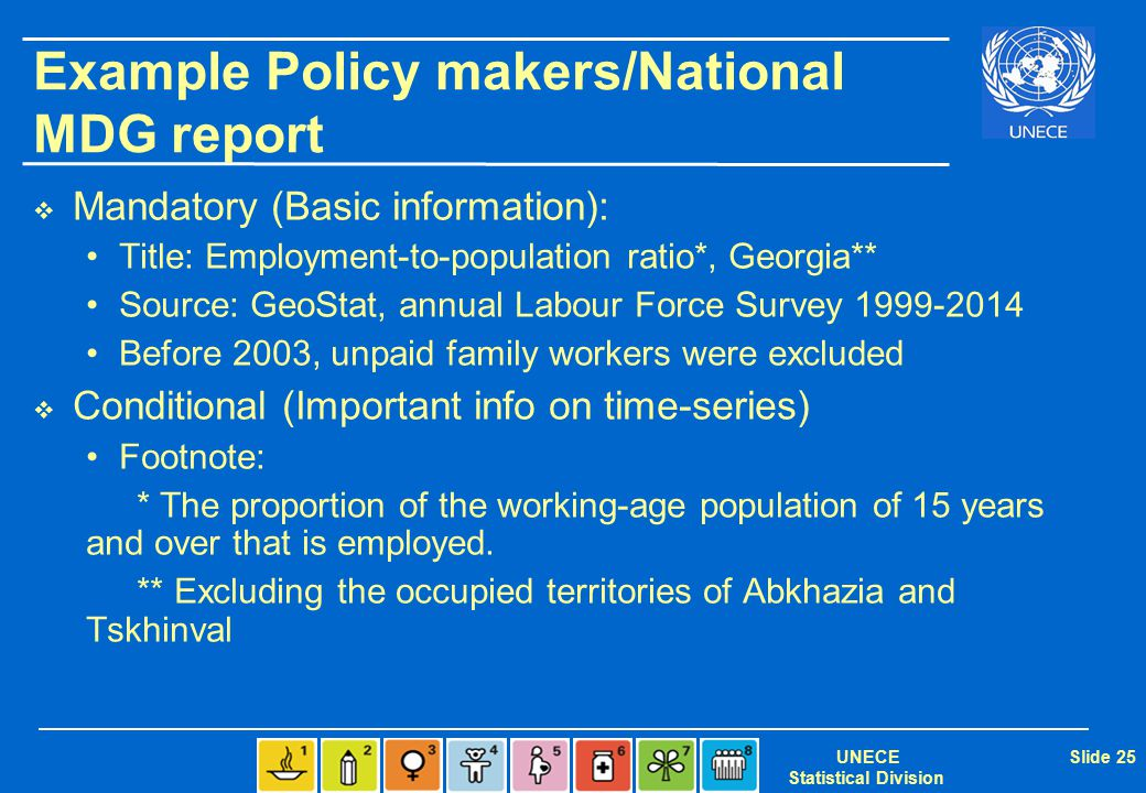 UNECE Statistical Division Slide 25 Example Policy makers/National MDG report  Mandatory (Basic information): Title: Employment-to-population ratio*, Georgia** Source: GeoStat, annual Labour Force Survey 1999-2014 Before 2003, unpaid family workers were excluded  Conditional (Important info on time-series) Footnote: * The proportion of the working-age population of 15 years and over that is employed.