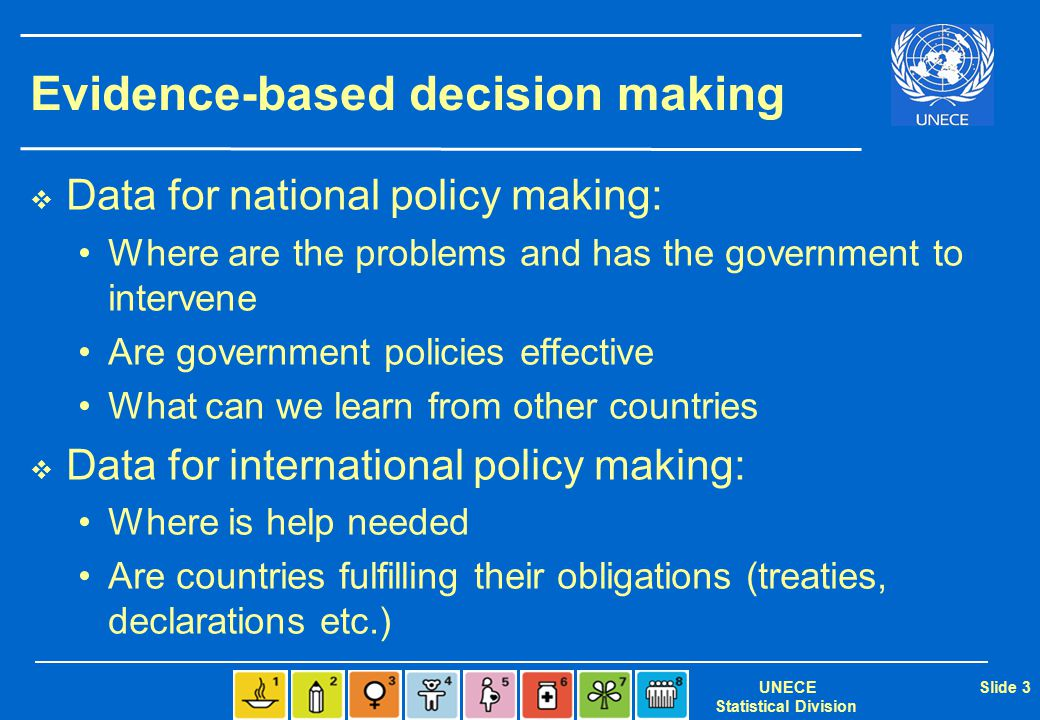 UNECE Statistical Division Slide 3 Evidence-based decision making  Data for national policy making: Where are the problems and has the government to