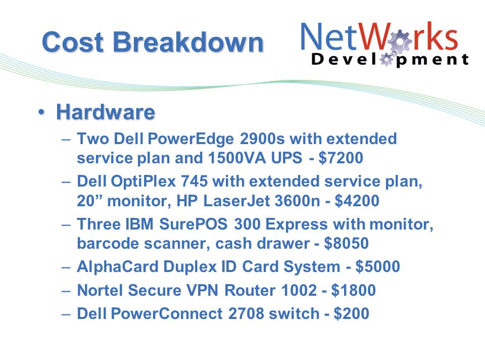 Cost Breakdown HardwareHardware –Two Dell PowerEdge 2900s with extended service plan and 1500VA UPS - $7200 –Dell OptiPlex 745 with extended service plan, 20 monitor, HP LaserJet 3600n - $4200 –Three IBM SurePOS 300 Express with monitor, barcode scanner, cash drawer - $8050 –AlphaCard Duplex ID Card System - $5000 –Nortel Secure VPN Router 1002 - $1800 –Dell PowerConnect 2708 switch - $200