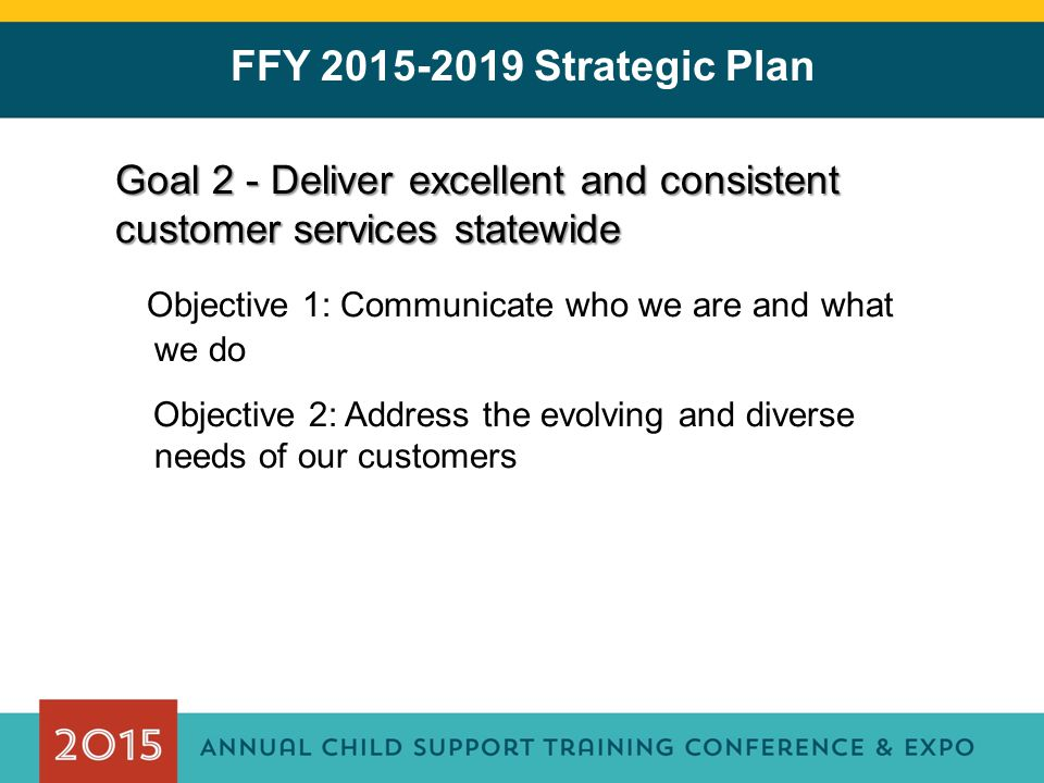 FFY 2015-2019 Strategic Plan Goal 2 - Deliver excellent and consistent customer services statewide Objective 1: Communicate who we are and what we do Objective 2: Address the evolving and diverse needs of our customers