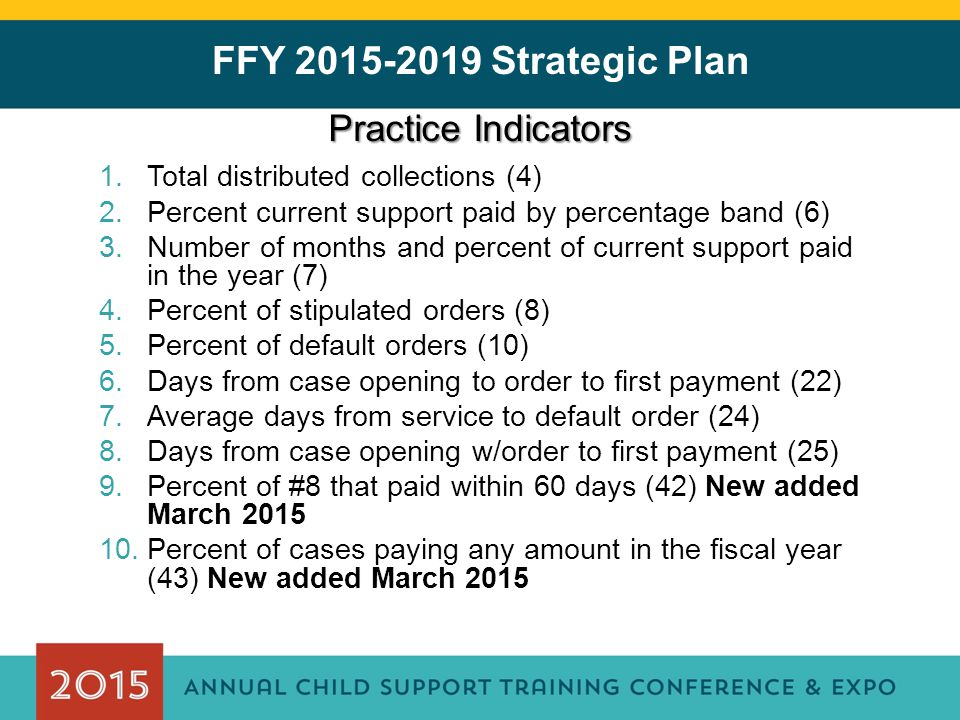 FFY 2015-2019 Strategic Plan Practice Indicators 1.Total distributed collections (4) 2.Percent current support paid by percentage band (6) 3.Number of months and percent of current support paid in the year (7) 4.Percent of stipulated orders (8) 5.Percent of default orders (10) 6.Days from case opening to order to first payment (22) 7.Average days from service to default order (24) 8.Days from case opening w/order to first payment (25) 9.Percent of #8 that paid within 60 days (42) New added March 2015 10.Percent of cases paying any amount in the fiscal year (43) New added March 2015