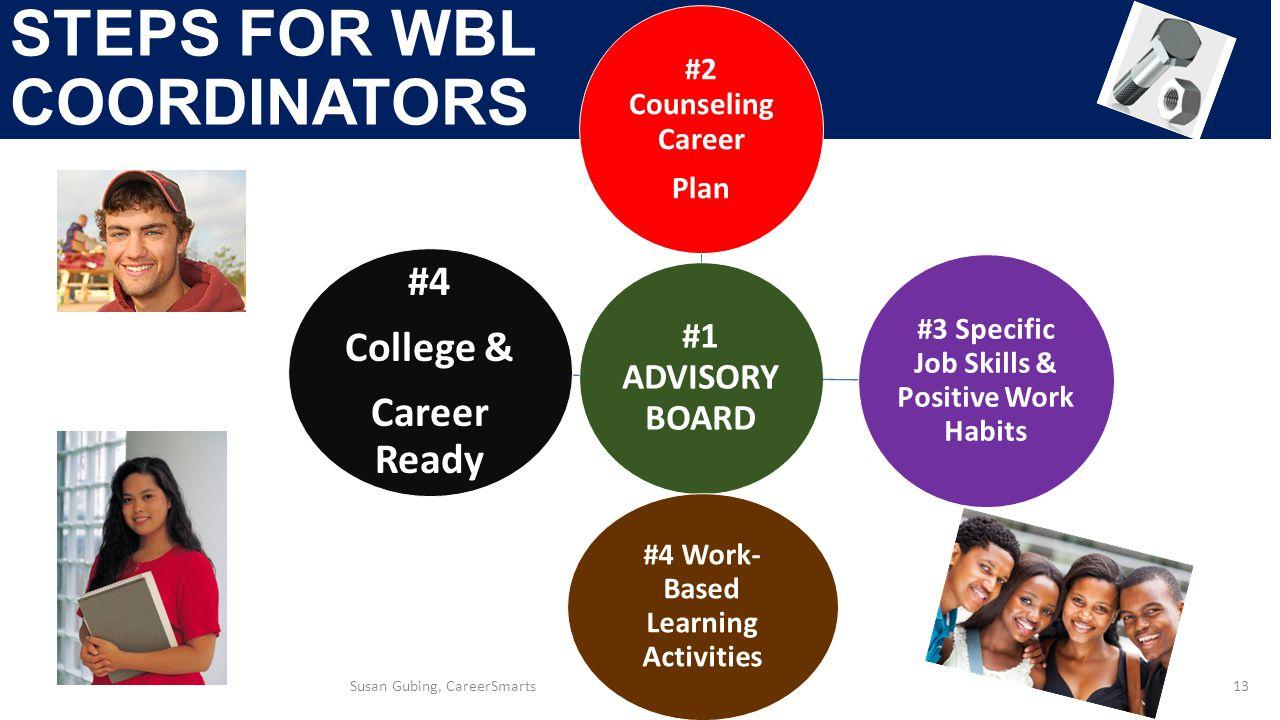 STEPS FOR WBL COORDINATORS 13 #1 ADVISORY BOARD #2 Counseling Career Plan #3 Specific Job Skills & Positive Work Habits #4 Work- Based Learning Activities #4 College & Career Ready Susan Gubing, CareerSmarts