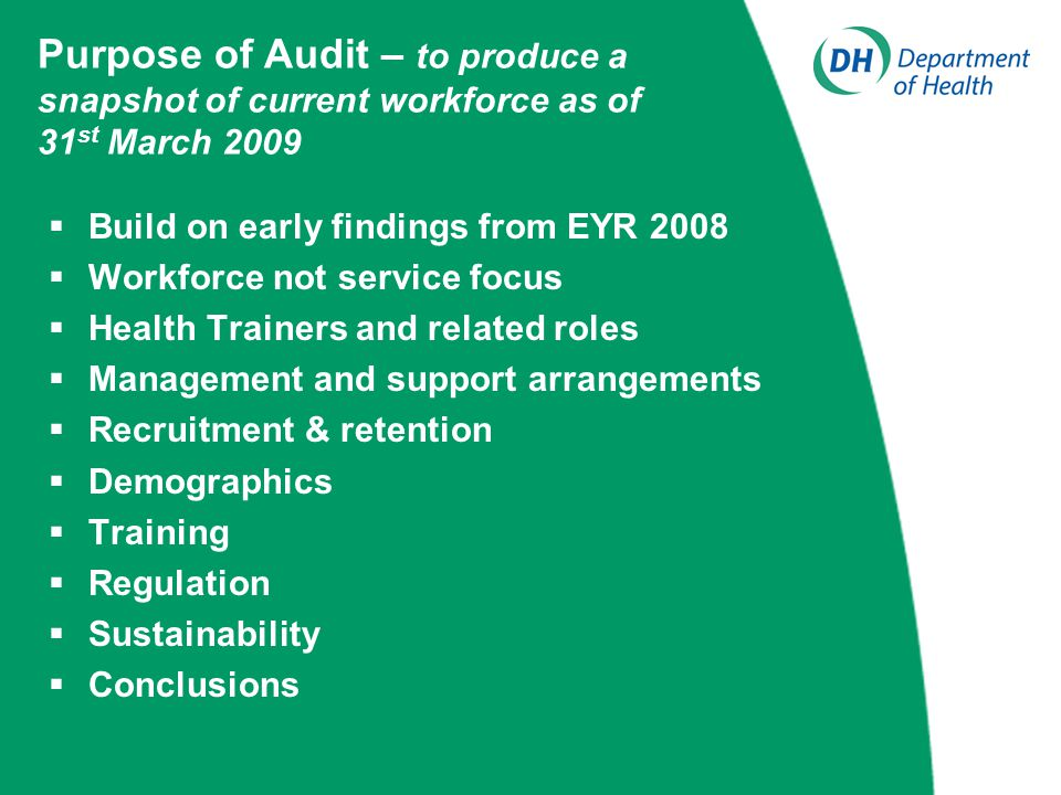 Purpose of Audit – to produce a snapshot of current workforce as of 31 st March 2009  Build on early findings from EYR 2008  Workforce not service focus  Health Trainers and related roles  Management and support arrangements  Recruitment & retention  Demographics  Training  Regulation  Sustainability  Conclusions
