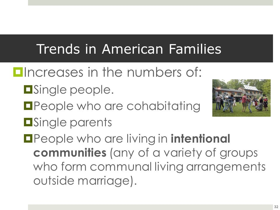32 Trends in American Families  Increases in the numbers of:  Single people.  People who are cohabitating  Single parents  People who are living