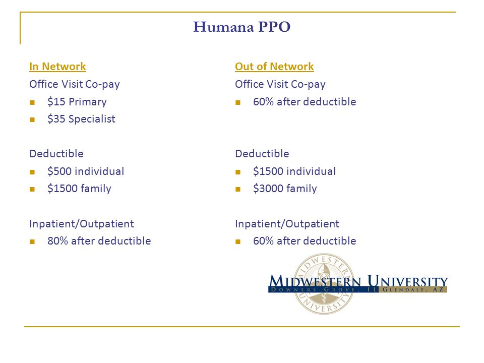 Humana PPO In Network Office Visit Co-pay $15 Primary $35 Specialist Deductible $500 individual $1500 family Inpatient/Outpatient 80% after deductible Out of Network Office Visit Co-pay 60% after deductible Deductible $1500 individual $3000 family Inpatient/Outpatient 60% after deductible