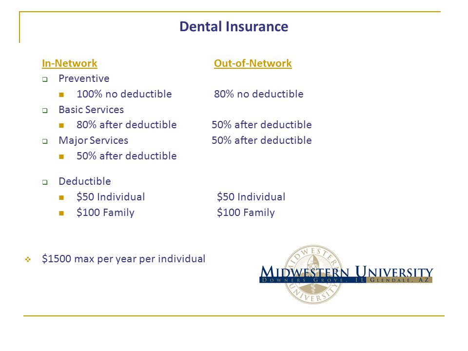 Dental Insurance In-Network Out-of-Network  Preventive 100% no deductible 80% no deductible  Basic Services 80% after deductible50% after deductible  Major Services50% after deductible 50% after deductible  Deductible $50 Individual $50 Individual $100 Family $100 Family  $1500 max per year per individual