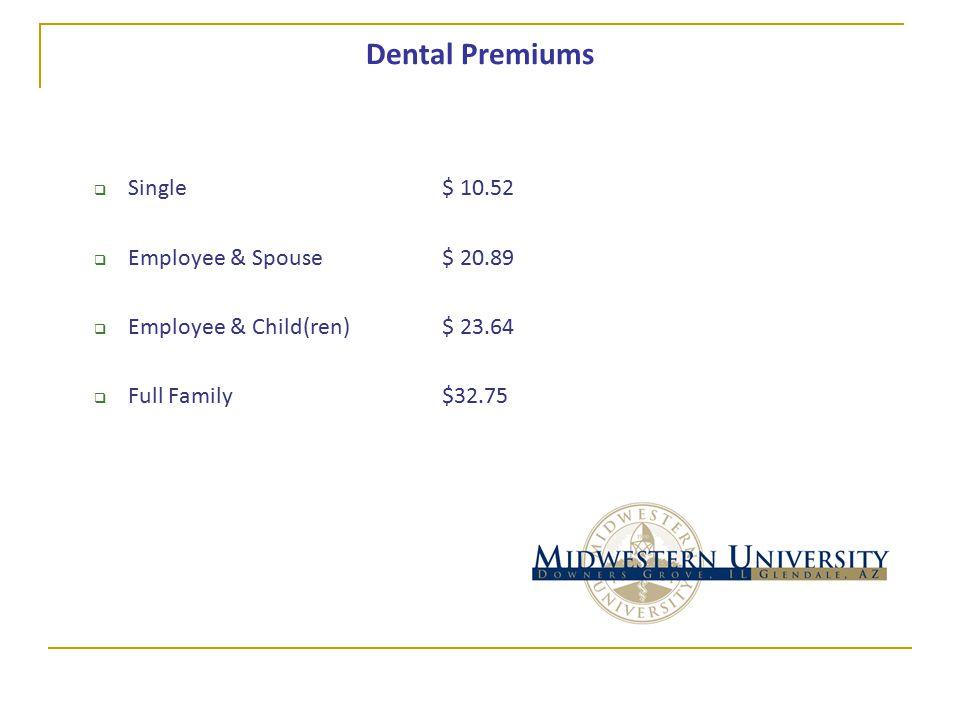 Dental Premiums  Single$ 10.52  Employee & Spouse$ 20.89  Employee & Child(ren)$ 23.64  Full Family$32.75
