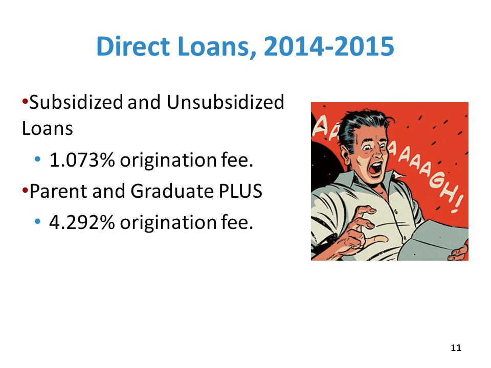 Direct Loans, 2014-2015 Subsidized and Unsubsidized Loans 1.073% origination fee.
